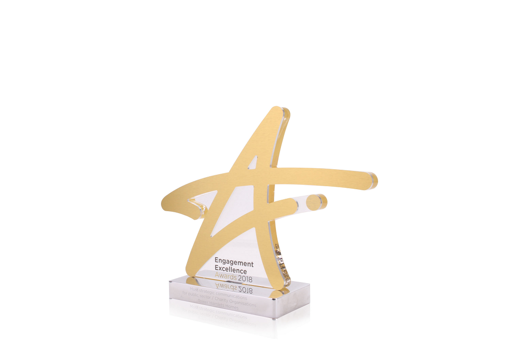 custom stars shaped acrylic trophy for the engagement excellence awards