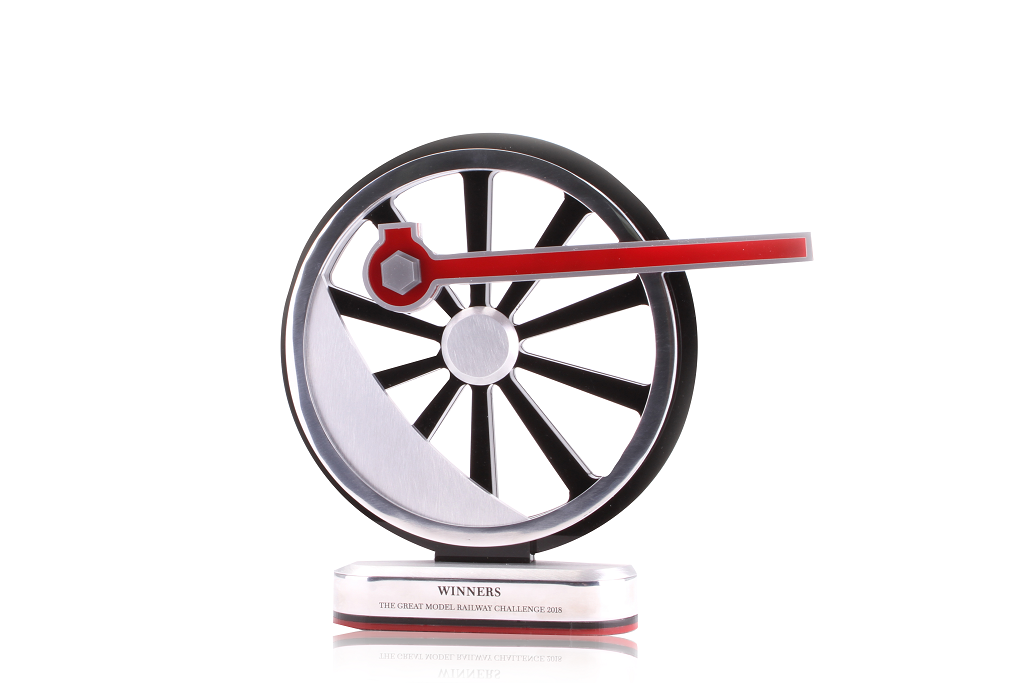 great model railway challenge custom trophy in the shape of a train wheel