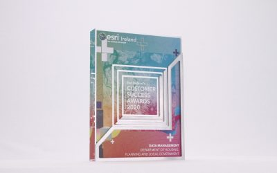 Printed custom acrylic tablet with a colourful map design and the printed Esri logo