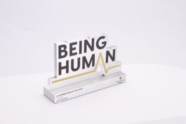 Custom solid aluminium trophy on a white background