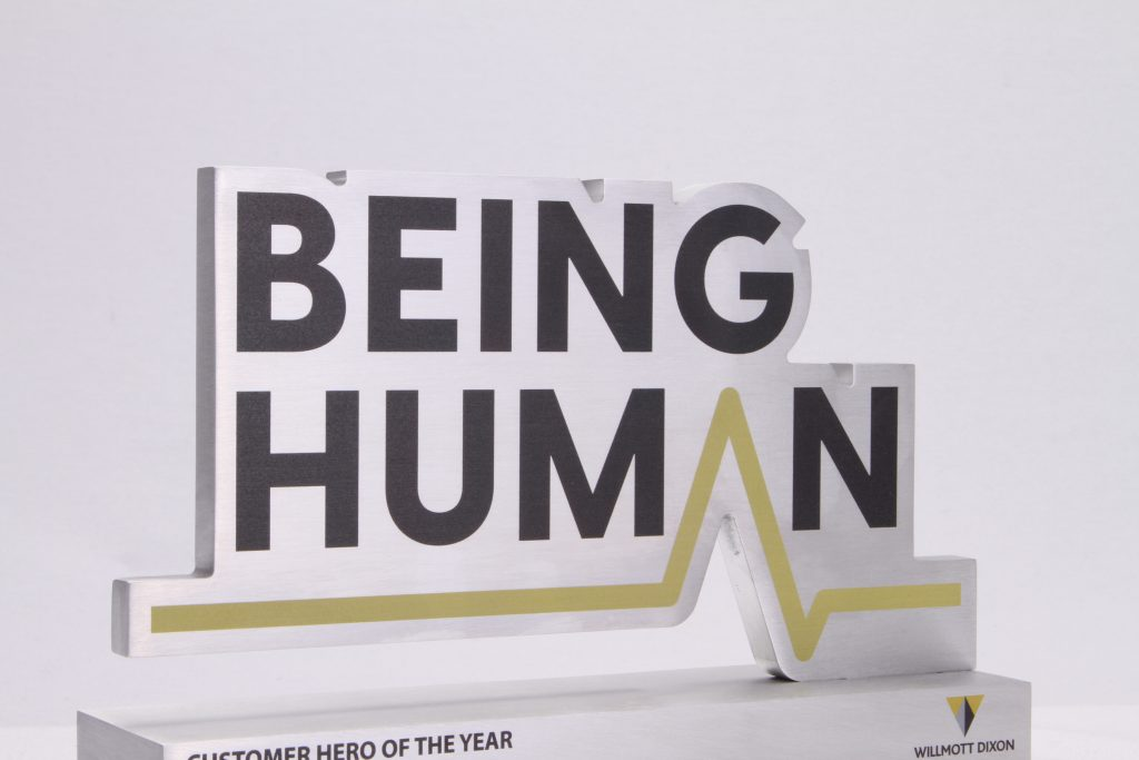 Profiled top of the solid aluminium Being Human Awards